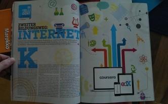 Die ersten zwei Seiten meines vier Seiten langen Artikels über MOOCs - das Ergebnis eines Selbstversuchs, der ein Jahr gedauert hat.